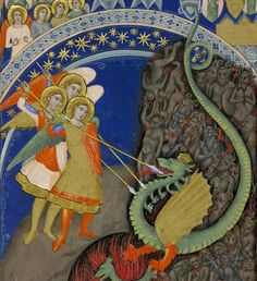 Angels vs dragon and demons, Additional 35254B, c. 1340. British Library.