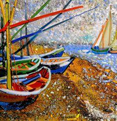 """Купить Картина из стекла """"Рыбацкие лодки в Сен Реми"""" - разноцветный, картина из стекла, стекло, Фьюзинг"""