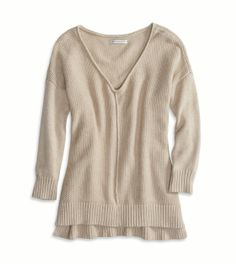 Oatmeal Heather AE Drapey V-Neck Sweater