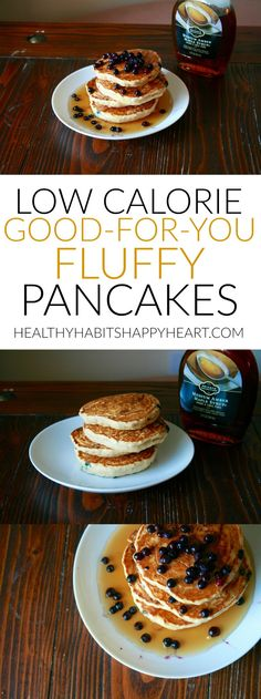 Low calorie good for you fluffy pancakes so easy to make! healthyhabitshappyheart com 300 calorie or less dinners to kick off the new you Low Calorie Pancakes, Pancake Calories, Low Calorie Desserts, No Calorie Foods, Low Calorie Recipes, 200 Calorie Meals, Low Calorie Waffle Recipe, Easy Desserts, Healthy Vegan Snacks
