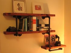 Industrial Three Shelf Wall Unit - Solid Wood and Iron Pipe on Etsy, $220.00