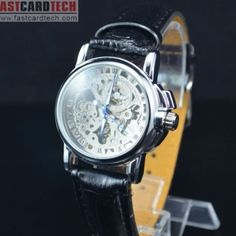 Fashional Male Automatic Watch J235 – Male Silver Stainless Steel Skeleton Auto Mechanical Watches Leather Wristwatch.