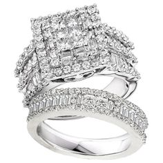 Annello by Kobelli 14k White Gold 2 4/5ct TDW Diamond Halo Bridal Ring Set (H-I, I2-I3) #kobelli