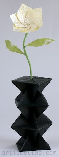 Mothers Day Origami: A Flower in a Vase. The modular Flower and Leaves were designed by Michael LaFosse.