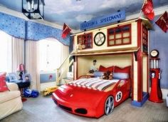 Kids Bedroom Design 22 Creative Kids' Room Ideas that Will Make You Want to Be Cool Kids Bedrooms, Kids Bedroom Designs, Kids Room Design, Lightning Mcqueen Toddler Bed, Bedroom Themes, Bedroom Decor, Bedroom Ideas, Gamer Bedroom, Toddler Car Bed