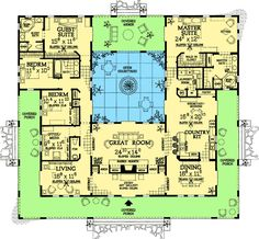 open courtyard house floorplan, a little tweaking and British Colonial. Move a few walls and make basement for extra bedrooms, with upstairs mostly living space!