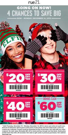 Pinned December 12th: $20 off $50 & more at rue21 or online via promo code 001838 #coupon via The #Coupons App Shopping Coupons, 20 Off, Rue 21, Coding, December, App, Apps, Programming