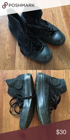 Black hi top converse Gently used hi top converse. Black. Women's 7 Converse Shoes Sneakers