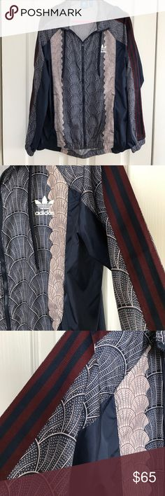 Adidas Women's shell print windbreaker Shell print windbreaker, traditional 3 stripes on sleeves and large logo on back, with hood! High/ low style (longer in back) Adidas Jackets & Coats