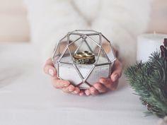 Ring Bearer Box, Winter Wedding, Geometric Box, Glass Box, Ring Pillow, Engagement Ring Box, Jewelry Storage, Silver Ring Pillow Alternative by Waen on Etsy https://www.etsy.com/listing/252909519/ring-bearer-box-winter-wedding-geometric