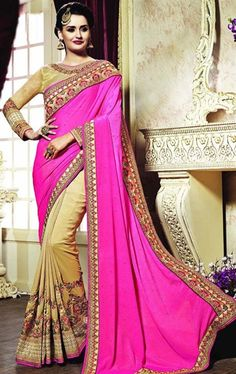 Picture of Mesmeric Beige and Pink Color Saree with Designer Blouse