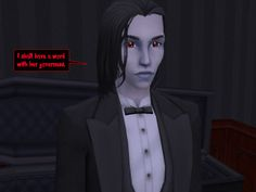 CALEB: I shall have a word with her governess.   #paranormal #psychic #governess #vampire #gothic #soapopera #sims2 #webcomic #goth #sims #comics