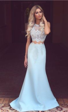 Light Blue Prom Dresses, Satin Prom Dress, white
