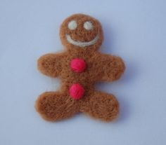 Gingerbread Man Brooch Needle Felted/Handmade by ValoisFelts