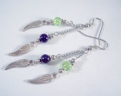 Seahawks Wing Charm Earrings Green and Navy Pro Football