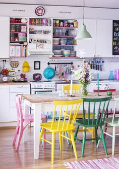 Brightly coloured chairs