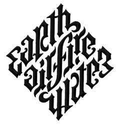 the ultimate ambigram, the Illuminati diamond, which has all four elements mentioned in the form of a diamond and it reads the same both ways.