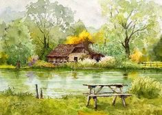 "https://www.facebook.com/MiaFeigelson ""Breeze of green"" ""「緑 風」"" (Bibury, Cotswold, Gloucestershire, England) By Kiyoharu Narazaki, from Fukuoka-shi, Japan - watercolor - https://www.facebook.com/kiyoharu.narazaki"