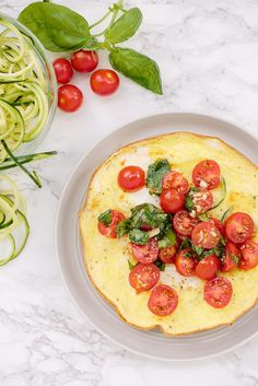 Open-Faced Omelet with Spiralized Zucchini and Summer Bruschetta