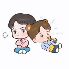 Angry Hunnie and Sleepy Nini still eating pocky Exo Cartoon, Cartoon Art, Kim Kai, 5 Years With Exo, Cute Bunny Pictures, Exo Anime, Exo Kokobop, Exo Couple, Exo Fan Art