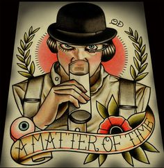flash-art-by-quyen-dinh: A Matter of Time (A Clockwork Orange) Tattoo Flash now available on Etsy :) Flash Art, Kunst Tattoos, Body Art Tattoos, Movie Tattoos, Watch Tattoos, Tattoo Ink, Arm Tattoo, Hand Tattoos, Sleeve Tattoos