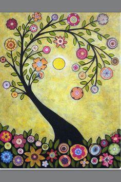 Rug Hook Crafts Paper Pattern Collage Tree Folk Art Abstract Primitive Karla G Art Floral, Art Fantaisiste, Fun Art, Art Carte, Naive Art, Whimsical Art, Tree Art, Owl Tree, Oeuvre D'art