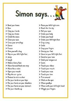 Simon says. Printable ideas for playing Simon Says. Great for Brain Breaks Preschool Songs, Preschool Learning, Kids Songs, Learning Activities, Physical Activities For Kids, Preschool Movement Songs, Gross Motor Activities, Songs For Preschoolers, Baby Activities