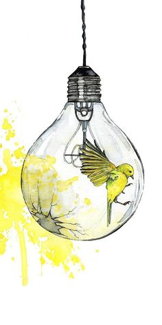 Watercolor Painting Light Bulb Painting Watercolor Print Bird Paint Splatter Light Bulb Art Bird Print Print Titled Shattering Either I Will Find A Way Or I Will Make One Light Bulb Art, Painted Light Bulbs, Light Bulb Drawing, Light Painting, Matte Painting, Abstract Paintings, Art And Illustration, Watercolor Illustration Children, Animal Illustrations