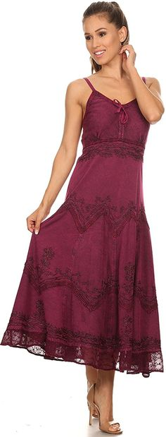 Sakkas Stonewashed Rayon Embroidered Adjustable Spaghetti Straps Long Dress at Amazon Women's Clothing store: