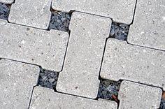 Eco-Tek interlocking permeable concrete pavers.