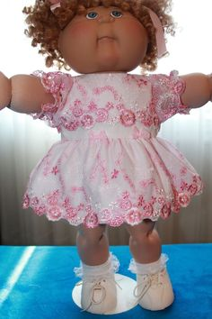 "Cabbage Patch Doll Cloths -Pink and White Dress, Panties fits 16""…"