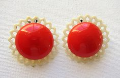 Rockabilly red plastic clip on earrings