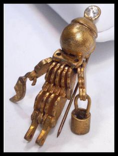 Steampunk  brooch Vintage robot  Signed  ARTS by vintagesparkles, $165.00