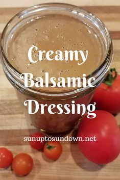 This creamy balsamic dressing takes less than five minutes to make. It's easy, delicious, simple and pairs well with any salad. Dressing Vinegar Vinaigrette Balsamic Vinaigre Source by sunupcountry dressing Creamy Balsamic Vinaigrette, Balsamic Vinegarette, Balsamic Vinegar Dressing, Salad With Balsamic Dressing, Vinaigrette Dressing, Salad Dressing Recipes, Salad Recipes, Creamy Salad Dressing, Salad Dressing Healthy