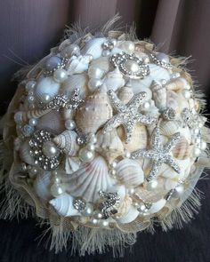 Brooch Bouquet Beach Wedding Bouquet Shell by GlitzOfFlorida, $295.00