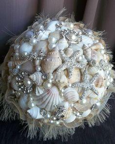 Brooch Bouquet Beach Wedding Bouquet Shell by GlitzOfFlorida, $295.00