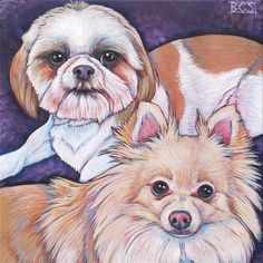 Cupcake the ShihTzu and Sonic the Pomeranian Dogs Custom Pet Portrait Painting…