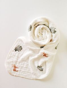 Organic Muslin Swaddle Blanket in Forest Friends; Organic Muslin by Flamingobaby on easy, love the colors and the softness of the watercolored stamps