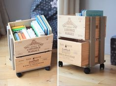 Books in Single box! Pallet Crates, Wooden Crates, Wooden Boxes, Toy Storage Solutions, Diy Projects To Try, Organizer, Home Organization, Diy For Kids, Home Furniture