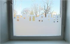what a cute alternative to curtains! DIY with window film and an exacto knife. Window Coverings, Window Treatments, Curtain Alternatives, Small Workspace, Kids Curtains, Faux Stained Glass, Pergola Attached To House, Old Windows, Window Film