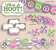 BABY OWL Shower Printable Package in Purple & Pink- Instant Download on Etsy, $25.00