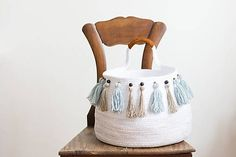Big cotton natural white basket with tassels, boho, bohemian, tribal, boho chic, homedecor, natural decor,