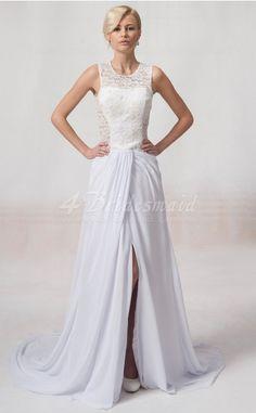 Princess Jewel Floor-length Lace Little White Bridesmaid Dresses