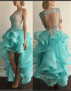 Sexy Lace Prom Dresses Hi-lo Organza Ruffled Puffy Evening Gown_Wedding Dresses | Prom Dresses | Evening Formal Gowns | Suzhoudress.com