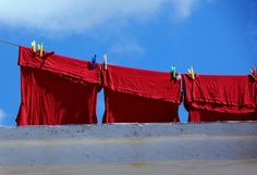 Hanging red laundry and bright blue sky. Paros Greece, Paros Island, Laundry, Sky, Photo And Video, Memoirs, Blues, Laundry Room, Heaven