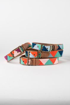 Blue & Orange Triangle - Leather Embroidered Dog Collar by FILLYDOG