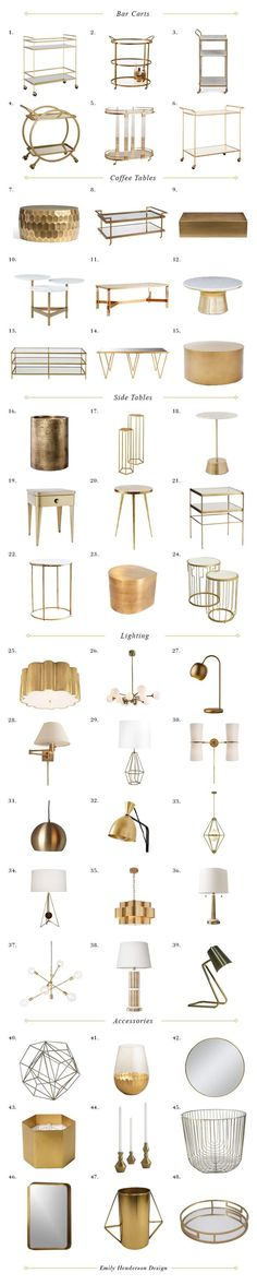 room decor Why Matte Brass Might Be The New King of Metallics + 48 Favorites Gold Accents-Metals and metallic finishes-living room-interior design-Home decor and accents ideas! Interior Design Living Room, Living Room Decor, Interior Decorating, Modern Interior, Living Rooms, Gold Interior, Apartment Living, Home Furniture, Furniture Design