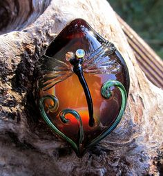 Dragonfly in Amber  Borosilicate Pendant by by HappyHeartsGlassArt, $75.00