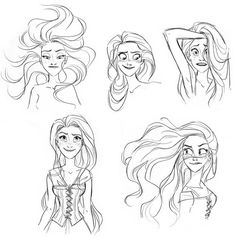 Tangled concept art by Glen Keane I wish they would have picked her original outfit than the one they used in the film. This is so much prettier. You can also see a lot of Ariel in these sketches