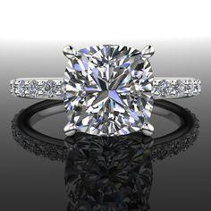Forever Brilliant Moissanite and Diamond Engagement Ring 2.86 CTW